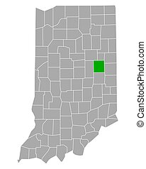 Map of Delaware in Indiana