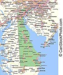 Map of Delaware. Shows state borders, urban areas, place names, roads and highways. Projection: Mercator.
