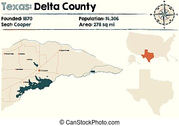 Map of Delta county in Texas