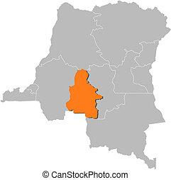 Map of Democratic Republic of the Congo, Kasai-Occidental ...