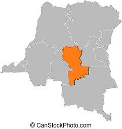 Map of Democratic Republic of the Congo, Kasai-Oriental ...