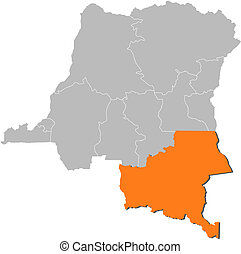Map of Democratic Republic of the Congo, Katanga highlighted...