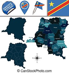 Map of Democratic Republic of the Congo - Vector map of ...