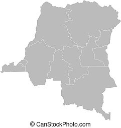 Map of Democratic Republic of the Congo with the several states