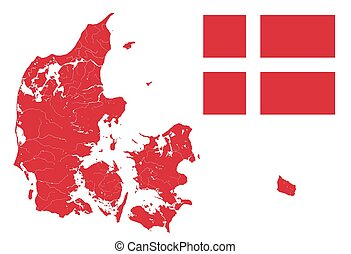 Map of Denmark with lakes and rivers and Danish flag.