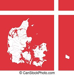 Map of Denmark with lakes and rivers in colors of the Danish flag.