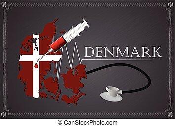 Map of Denmark with Stethoscope and syringe.