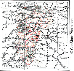 Map of Department of Aisne, vintage engraving.