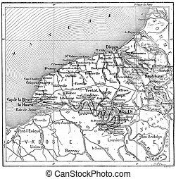 Map of department of the Lower Seine, France, vintage engraved illustration. Dictionary of words and things - Larive and Fleury - 1895.