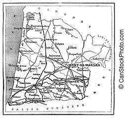 Map of Des Landes department, vintage engraving.
