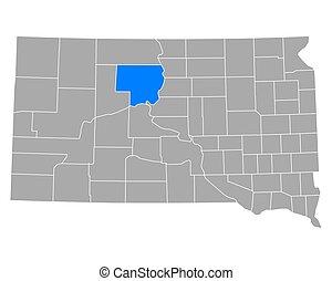 Map of Dewey in South Dakota