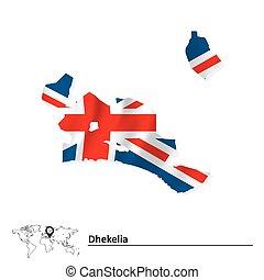 Map of Dhekelia with flag