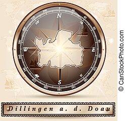 Map of Dillingen with borders in bronze