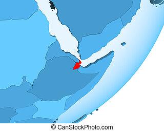 Map of Djibouti on blue political globe