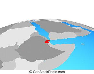 Map of Djibouti on globe
