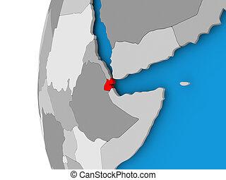 Map of Djibouti on political globe