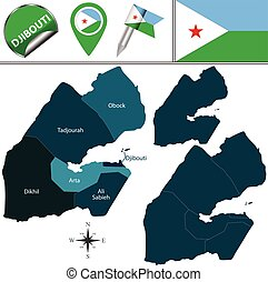 Map of Djibouti with Named Regions - Vector map of Djibouti...
