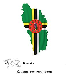 Map of Dominica with flag
