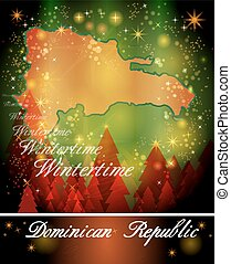 Map of Dominican Republic in Christmas Design