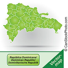 Map of Dominican Republic with borders in green