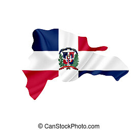 Map of Dominican Republic waving flag isolated on white