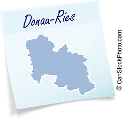 Map of Donau-Ries as sticky note in blue