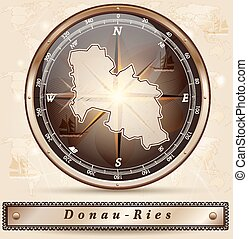 Map of Donau-Ries with borders in bronze