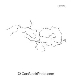 Map of Donau river drainage basin. Simple thin outline...