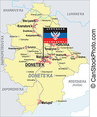Map of Donetsk Oblast with major cities and roads and with the flag of Donetsk People's Republic