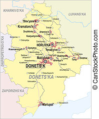 Map of Donetsk Oblast with major cities and roads