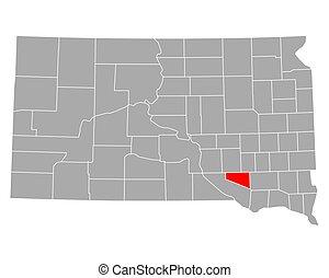 Map of Douglas in South Dakota