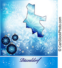 Map of Duesseldorf in Christmas Design in blue