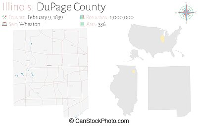 Large and detailed map of DuPage county in Illinois, USA.