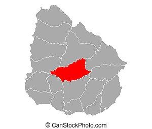 Map of Durazno in Uruguay