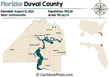 Map of Duval County in Florida
