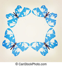 Map of Earth on butterflies isolated on white . 3D illustration. Vintage style.
