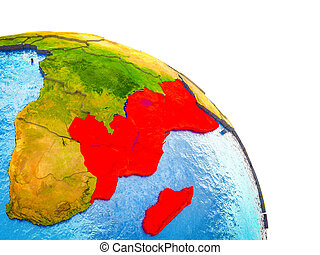Map of East Africa on 3D Earth