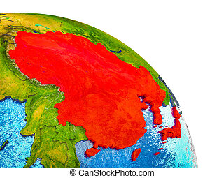 Map of East Asia on 3D Earth
