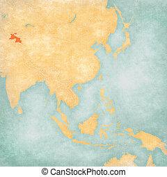 Map of East Asia - Tajikistan