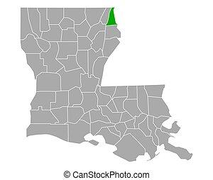 Map of East Carroll in Louisiana