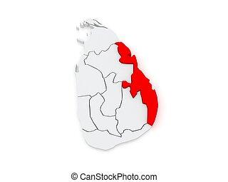 Map of Eastern. Sri Lanka. 3d