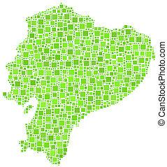 Map of Ecuador - Latin America - in a mosaic of green...