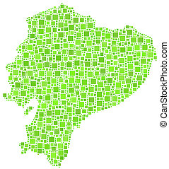 Map of Ecuador - Latin America - in a mosaic of green...