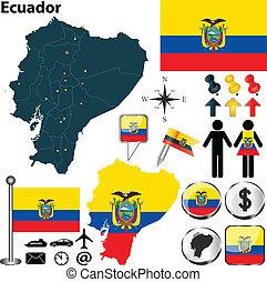 Map of Ecuador - Vector of Ecuador set with detailed country...