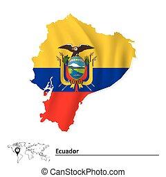 Map of Ecuador with flag