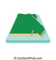 Map of Egypt icon, cartoon style