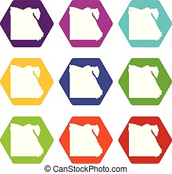 Map of Egypt icon set color hexahedron