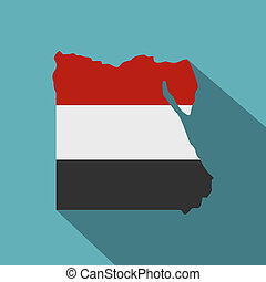 Map of Egypt in Egyptian flag colors icon