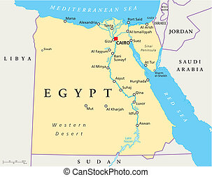 Map Of Egypt - map of Egypt with national borders, most ...