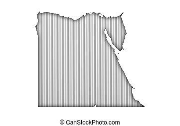 Map of Egypt on corrugated iron